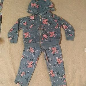 Carters Blue w/ Pink Flowers Sweatsuit /Hoodie set